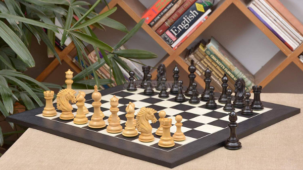 Combo of Apache Series Chess Pieces in Ebony / Box Wood & Black Anigre Maple Matte Finish Chess Board